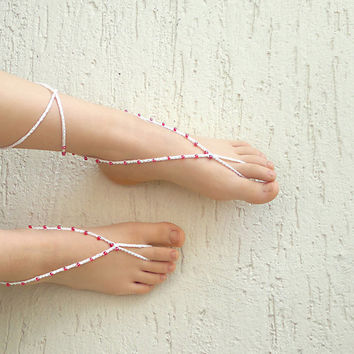 Beaded crochet barefoot sandals, beaded anklets, shoes accessories, beach accessories, gift for her, mothers day gift, summer accessory