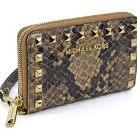 Michael Kors Selma Stud Multifunction Phone Case Sand Croco Leather Clutch