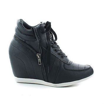 Woo71 Black Pu by Callie Shoes, Round Toe Lace Up Hidden High Wedge Fashion Women's Sneakers