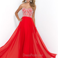 Rhinestone Covered Blush Prom Dress 10003