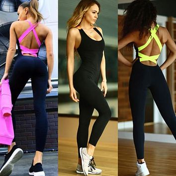 One Piece Sport Clothing Backless Sport Suit Workout Tracksuit For  Dance Sportswear Gym Yoga