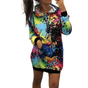 Sweatshirt Hoodies Women Fashion Womens Colorful Tie dyeing Print Sweatshirt Hooded Overcoat Blouse Tops Women Sweatshirts