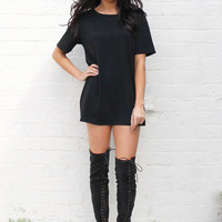 Oversize Boyfriend Jersey Tshirt Dress in Black