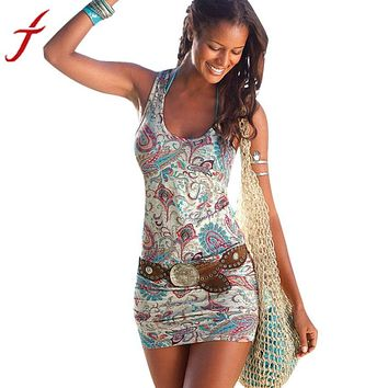 Women's Floral Korean Style Hemp Short Dress