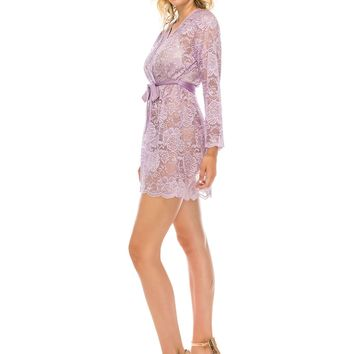 2Pc Lace Robe Lavender Frost