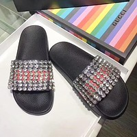 Gucci Popular Women Casual Crystals Diamond Sandal Slipper Shoes I