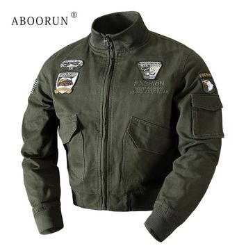 ABOORUN Winter Mens Military Jacket Bomber Jackets US Flag Embroidery Men's Thick Warm Slim fit Coat P6044