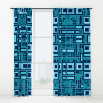 Blue digital geometric abstraction Window Curtains by Natalia Bykova