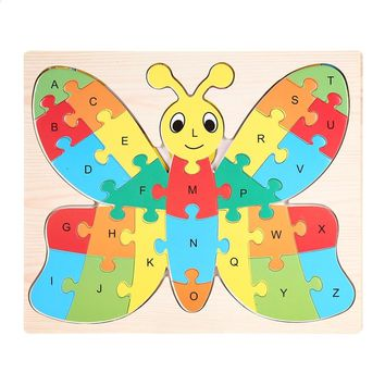 Puzzle Toys Kids Educational Toy Baby Animal Alphabet Wooden Jigsaw Puzzle Pre-school Learning Toys For Children Games Gifts Kid