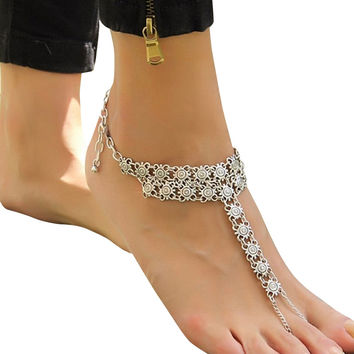 Punk Personality Heavy Anklets Vintage Silver Plated Flower Joint Chain Link Toe Bracelet