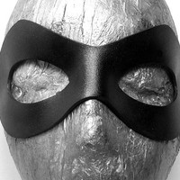 Superhero Leather Mask. Comic book inspired mask in  black with adjustable cord. Batman, Robin