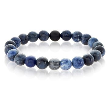 Crucible Men's Polished Sodalite and Matte Black Onyx Bead Stretch Bracelet - 8.5 inches (10mm Wide) | Overstock.com Shopping - The Best Deals on Men's Bracelets