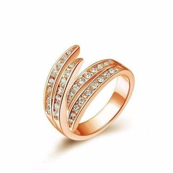 Feathers Channel Set Rose Gold Ring