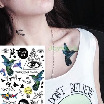 Waterproof Temporary Tattoo Sticker Hummingbird fly bird eye of GOD tatto stickers flash tatoo fake tattoos for women girl