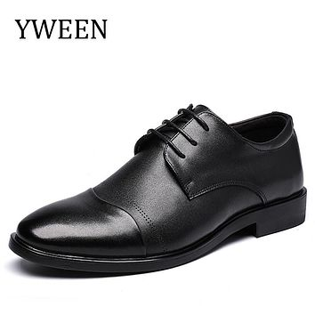 YWEEN Fashion Split Leather Men Oxford Shoes, Lace Up Casual Business Men Shoes, Brand Men Wedding Shoes, Men Dress Shoes