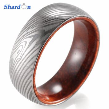SHARDON Engagement Jewelry Domed 8mm Titanium Ring with Mahogany inlay Silver color Men ring wedding band