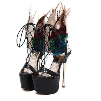 New women's sexy high heels High Platform Peacock feather sandals hollow out celebrity shoes Boots size