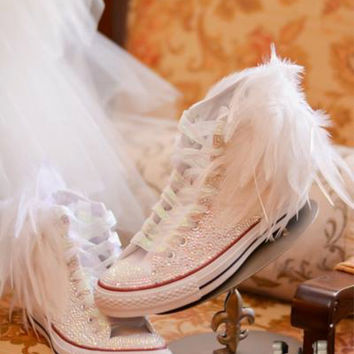 The Ultimate Rhinestone Converse Feather Converse for Bride Prom Quinceñera Wedding Bat Mitzvah