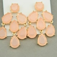 Peach Chandelier Teardrop Earrings