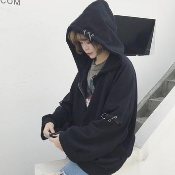 Woman Hollow Out With Rings Jacket Spring Long Sleeve Hoodies Coats With Pockets Preppy Style Students Zipper Baseball Jerseys