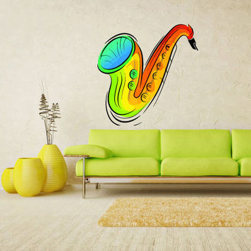 Full Color Wall Decal Mural Sticker Decor Art Sax Saxophone Music Notes Jazz Band (col310)