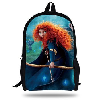 16-inch Archery Brave Backpack Kids School Bags For Girls Children Cartoon Bag Princess With Bows and Arrows Mochila Infantil