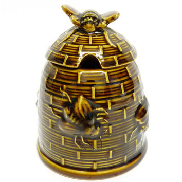 Honey Pot and Lid, Bee Hive, Woven Willow or Wicker, Possibly Japanese? 1930's or 1940's, Brown Betty Style,