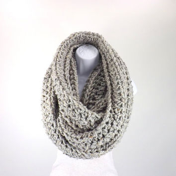 SALE Large Chunky Infinity Scarf /GREY MARBLE/, Unisex Infinity Scarf, Woolen Scarf, Men Woman Chunky Scarf, Gift Idea