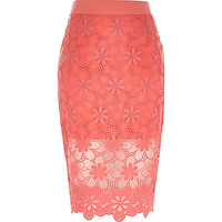River Island Womens Coral floral lace pencil skirt