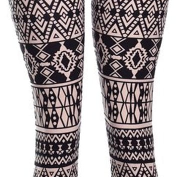 VIV Collection Women's Stripe Tribal Aztec Navajo Chevron Spring Floral Leggings