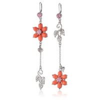 "Betsey Johnson ""Iconic Coral"" Glam Flower and Leaves Mismatch Drop Earrings"