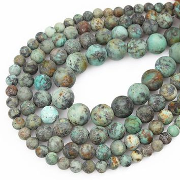 "Natural Stone Dull Polish African Turquoises Round Loose Beads For Jewelry Making 15.5"" Pick Size  6/8/10/12mm"