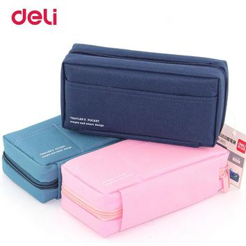 Deli Canvas Pencilcase for school Supplies Student Bts Stationery Storage bag Gift Pencil Bag School Case pencil pouch for Boy