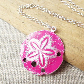 Sand Dollar Ocean Necklace, Magenta Pink Patina Sand Dollar Pendant, Sterling Silver Jewelry, Beach Necklace, Gift, Beach Jewelry