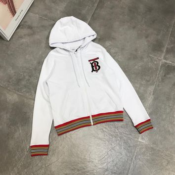 """""""Burberry"""" Women Casual Fashion Multicolor Stripe Letter Embroidery Long Sleeve Hoodie Sweater Coat"""