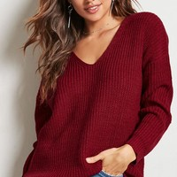 Ribbed V-Neck Sweater - Women - New Arrivals - 2000148574 - Forever 21 Canada English