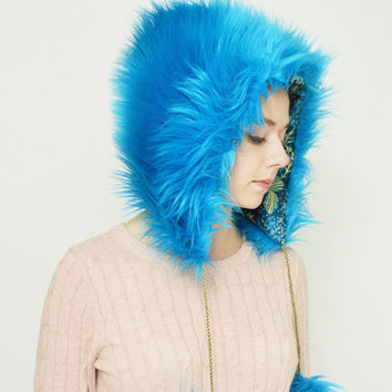 Blue Fur Hood FREE SHIPPING, Faux Fur Hood, Turquoise Hat, Unique Handmade Faux Fur Hat, Teal Blue Winter Hat, Blue Fur