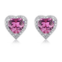 COUTURE 3 Carat Pink Sapphire Heart Stud Clip On Earrings