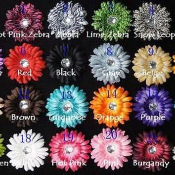 8pcs. Mix Puffy Crystal Gerbera Daisy Flower Hair Clips-4""
