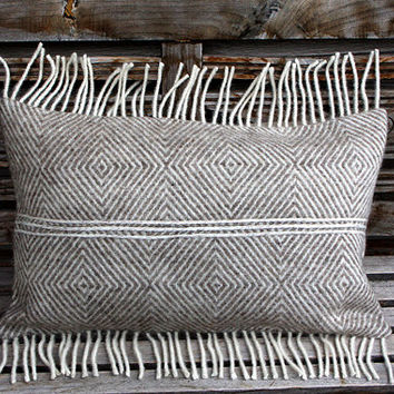 """Decorative Pillow case, Real Pure White- Light beige Wool Lumbar pillow cover with fringe, fits 12"""" x 20"""" insert, Home Decor"""
