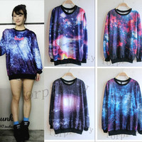 Women's Galaxy Space Starry Print long Sleeve Top Round T Shirt