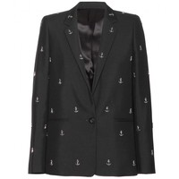 Boy Studs anchor-embellished wool-blend blazer