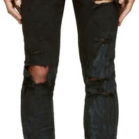Black Destroyed Denim Slim Fit Jeans