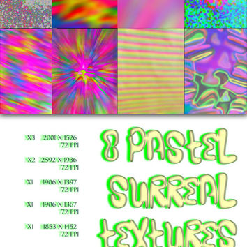 8 PASTEL SURREAL Photoshop Textures File Instant Download Pink Pastel Glow Neon Goth Trippy Psychedelic 90s Rave Paper Resources 72 PPI