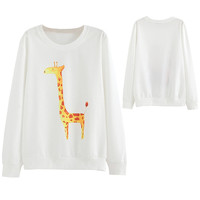 White Giraffe Pattern Long Sleeve Sweatshirt
