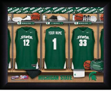 Michigan State Spartans | Locker Room Art | Basketball | Personalized | Framed | NCAA