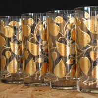 Georges Briard Gold Leaf Highball Glasses, Set of Five