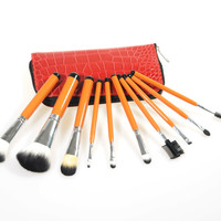 Red 10-pcs Make-up Brush Set = 4831019332