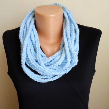 Chunky scarf. Wool neck warmer . Crochet chain necklace. Sky blue. Crochet necklace.Infinity  Neckwarmer. FREE SHIPPING