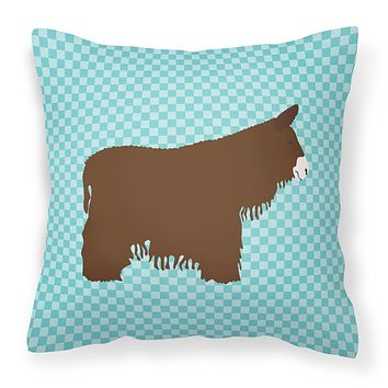 Poitou Poiteuin Donkey Blue Check Fabric Decorative Pillow BB8026PW1414